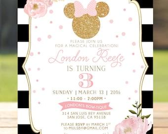 Pink & Gold Glitter Minnie Mouse Birthday Invitation Invite - Girls Birthday Floral Flowers - digital invite customizable DIY printable