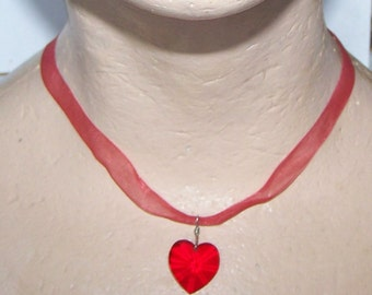 Red Heart Necklace / Pendant / Choker / Valentine's Day / Red Glass Heart / Sheer Red Ribbon
