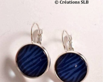Dangle earrings with Blue Zebra cabochons