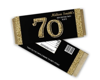 Milestone Birthday Favor - Adult Party Favors - Adult Birthday Party - Personalized Candy Wrappers - gold glitter 50th 60th 70th 80th 90th