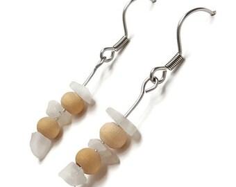 Gemstone earrings, moonstone earrings, natural moonstone jewelry, healing stone jewelry, healing crystals earring romantic earring wood ayin