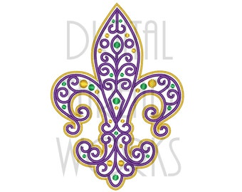 Filigree Fleur De Lis Mardi Gras Embroidery Design for 4x4, 5x7, and 6x10 inch hoops. Instant Download
