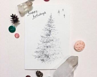 Retro Holiday Tree Pencil Sketch   Greeting Cards