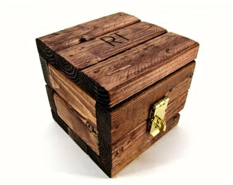 Made To Order Small Engraved Wooden Gift Box - Miniature Cube Storage Box with Lid - Tiny Rustic Wood Burned Trinket Box with Brass Latch