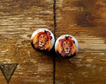 Buy2Get3 Plugs Lion image wooden ear tunnels 4,5,6,8,10,12,14,16,18,20,22,25-60mm;6g,4g,2g,0g,00g;1/4,5/16,3/8,1/2,9/16,5/8,3/4,7/8,1 1/4,1""