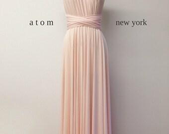 Blush Pink LONG Floor Length Ball Gown Maxi Infinity Dress Convertible Formal Multiway Wrap Evening Dress Bridesmaid Dress Weddings Prom