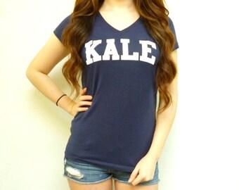 Kale Shirt - Kale T Shirt - Kale University - Kale University Shirt - Funny Shirt - Navy V Neck