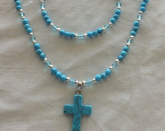 Faux Turquoise set with Cross