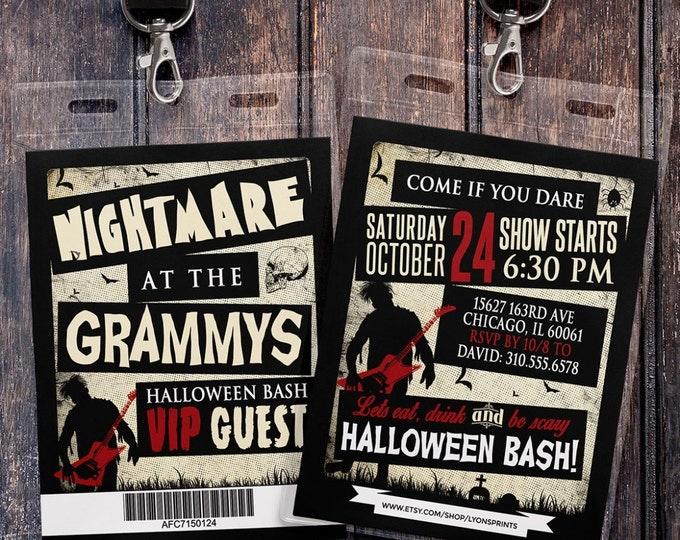 Grammy awards, Freak show, Halloween invite, Halloween party, Halloween invitation, Halloween,  Kid's halloween party, rock star,invitation