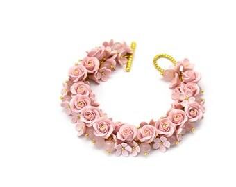 Polymer clay bracelet Charm bracelet Polymer clay jewelry Floral jewelry Floral bracelet Bangle Bracelet Pink bracelet Gift for her Roses
