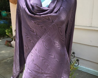 Silk purple blouse with cowl neck. Size 4