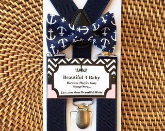 Navy Anchor Nautical Baby Boy Bowtie and Suspender Set, Baby Boy Bow Tie, Baby Anchor Bow Tie, Toddler Anchor Bow Tie- 6 Months to 5 Years
