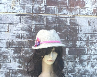 WOMENS WOOL FEDORA with Pink Flower Ribbon, Hand Knit Hand Felted Fedora Hat, Embellished Hat, Hand Felted Hat