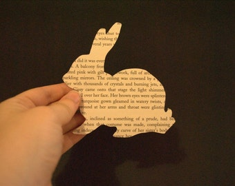 Rabbit Silhouette Book Page Hand Cut Paper Art