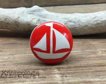 "1.5"" Red and White Sailboat Knob - Nautical Boat Theme Drawer Pull - Primary Colors Nursery - Ceramic Decorative Knobs"