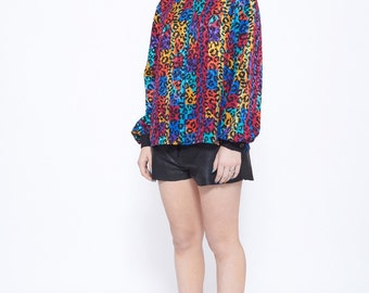 Vintage Leopard Print Blouse in Rainbow Checker and Spots