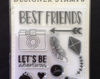 Clear Stamps, Best Friends, Adventure, Bicycle, Hearts, Arrows, Feathers, Scrapbooking, 10 Total Stamps, Echo Park Paper Company