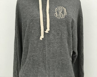 Monogrammed Cowl Neck Tri Blend French Terry Hooded Sweatshirt,  Stylish Cowl Neck Hoody with Embroidered Monogram, Personalized Sweatshirt