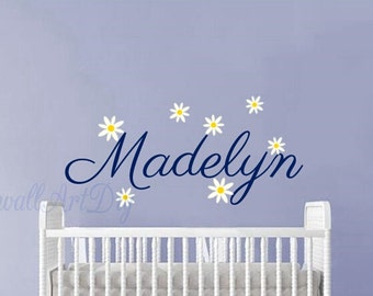 Name wall decals Nursery name wall decals Nursery name wall sticker Name and flowers wall sticker Baby girl's name wall decal