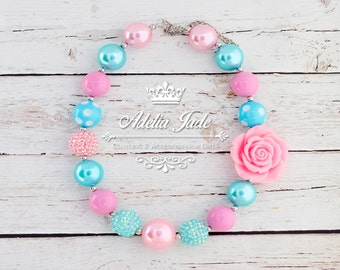 Pink & Blue Chunky Necklace, Little Girl Necklace, Birthday Cake Smash Necklace, Children Bubblegum Necklace Baby Jewelry