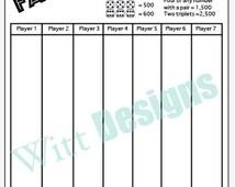 PDF 8.5x11 Farkle score card - 8.5x11 - scorecard - score sheet- download and print