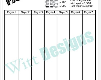 PDF 8.5x11 Farkle score card - 8.5x11 - scorecard - score sheet- download and print