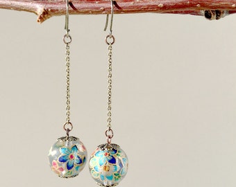 Antique Bronze Long Earrings Oriental Floral Printed Beads - Clear