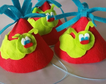 Funny hat Birthday accessory Birthday hat boy caterpiller party Birthday party accessories red and green party bug hat insect lover favor