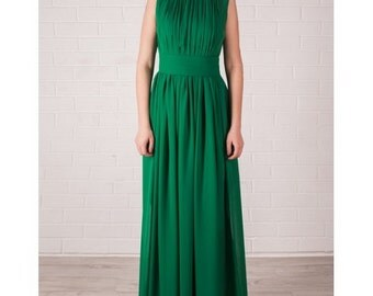Chiffon Maxi Dress ,Green Evening Dress Floor Length, Bridesmaid Dress.