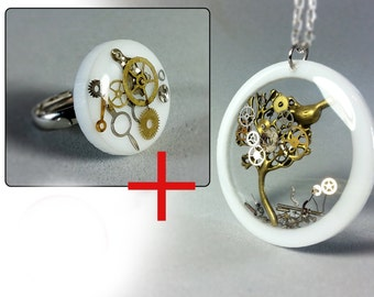 White resin sets, Steampunk tree of life , Steampunk ring, Steampunk lovers, Steampunk birs pendant, Steampunk necklace,Eco friendly resin