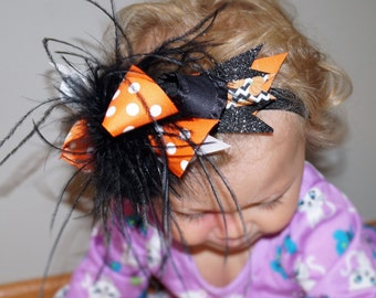 Baby girl over the top halloween bow - Toddler halloween bow - Halloween headband - baby girl halloween headband - first halloween