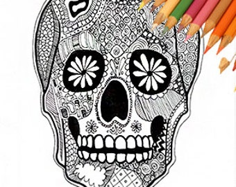 last minute halloween dia de los muertos skull day of the dead skull calaveras printable skull sugar skull coloring page skull download