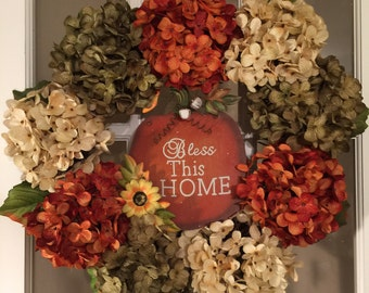 Fall 'Bless this Home' Hydrangea Wreath