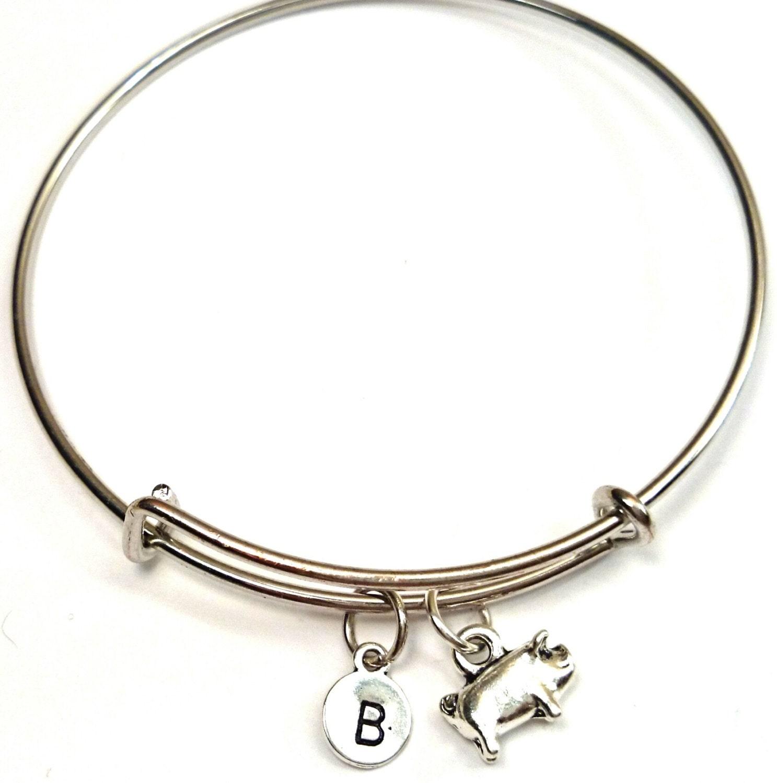 pig bangle bracelet adjustable expandable by