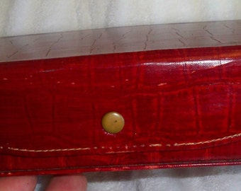 Vintage Red leather jewelry travel case