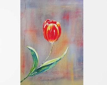 Fine art print from painting, Tulip art, Flower print, Abstract floral print, Floral art print, Tulip print, Wall art print, Artwork print