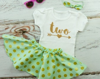 2nd Birthday Outfit with Twirl Skirt   Gold Two With Arrow with Mint & Gold Dot Twirl Skirt