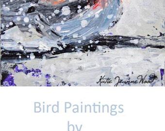 Acrylic Chickadee Bird Painting. Winter Animal Art Painting. Art Gift for Her. 14