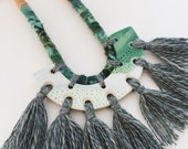 Reversible polymer clay pendant with tassels