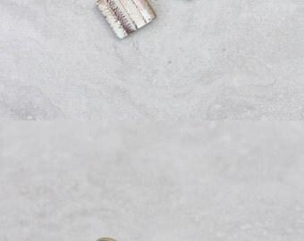 Polymer clay earrings - Modern geometric earrings - square dangle earrings - riveted textured earrings