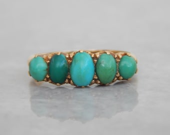 victorian engagement ring in Turquoise and 18ct gold  - antique Victorian ring - antique turquoise ring - turquoise jewelry