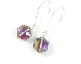 Pink Crystal Earrings, Pink Dangle Earrings, Crystal Dangle Earrings, Fuschia Jewelry, Hot Pink Jewelry, Unique Jewelry, Earrings for Women