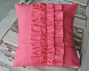 Ruffle Pillow- Bright Pink