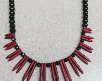 SALE! Gameday Spiked Howlite Garnet And Black Boutique Necklace
