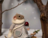 Woolen mouse , Mouse with apple , Winter mouse  , Art Doll , Waldorf animal , Eco-friendly
