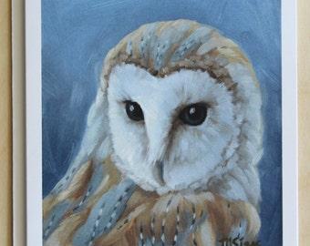 Owl - barn owl - bird notecard - bird of prey - greeting cards - paper goods - thank you notes