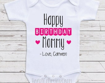 Mom birthday etsy personalized birthday baby clothes happy birthday mommy custom baby one piece gifts for negle Images