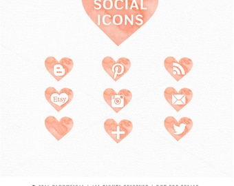 Peach Heart Social Media Icon Buttons |Watercolor Web Blog Graphics | boutique, photography, fashion | Digital Design Resources