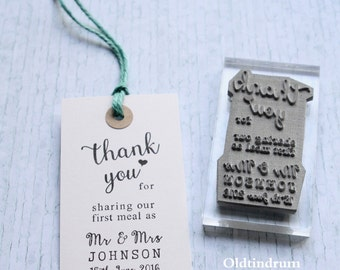 Wedding  stamp. Thank you. UK. First meal. Mr & Mrs.  Custom . Personalised. UK made
