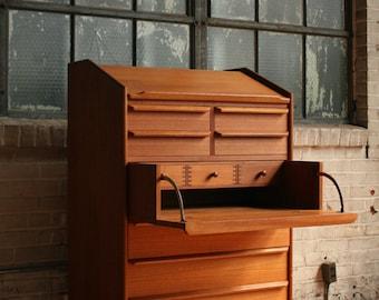 Danish Modern Teak Secretary Desk / Vanity Dresser